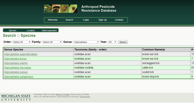 Pesticide resistance screenshot